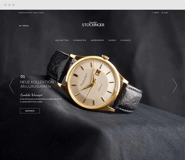 Webseite Juwelier Stockinger Wels