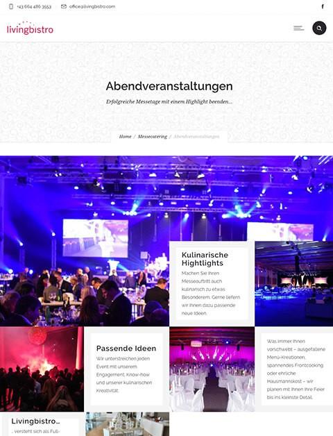 Webseite livingbistro - Abendveranstaltungen