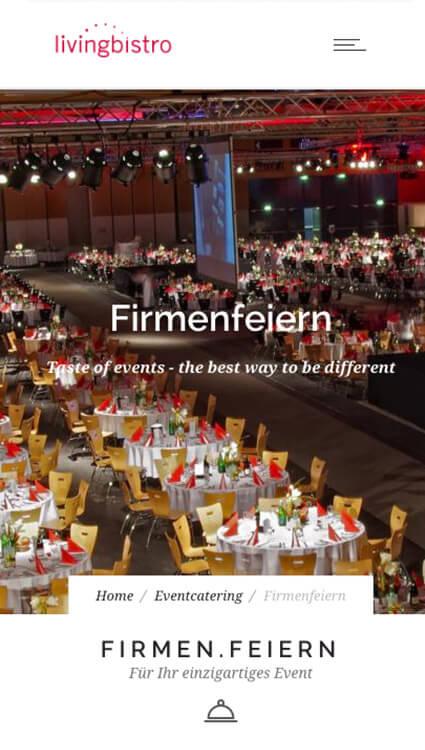 Webseite livingbistro - Firmenfeiern