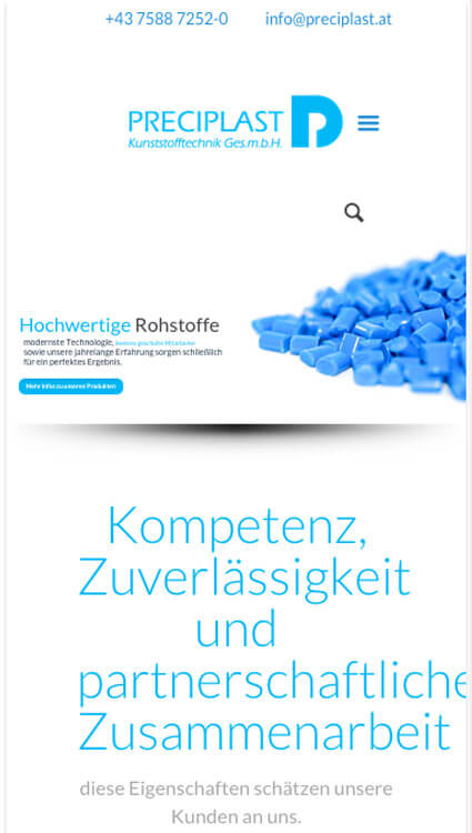 Mobile Website Preciplast Kunststofftechnik