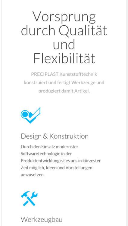 Mobile Webseite Preciplast Kunststofftechnik
