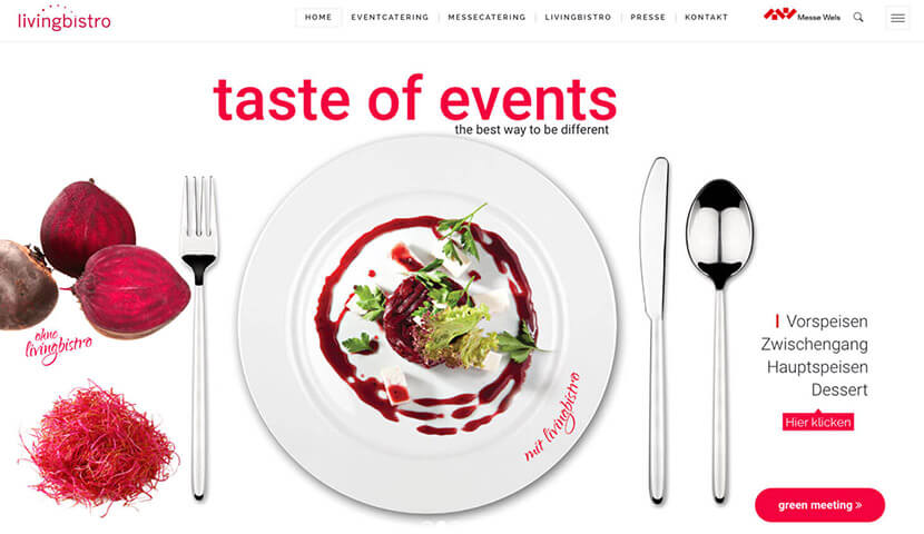 Webseite livingbistro - taste of events