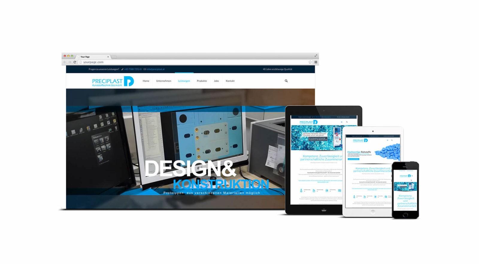 Responsive Webseite Preciplast Kunststofftechnik