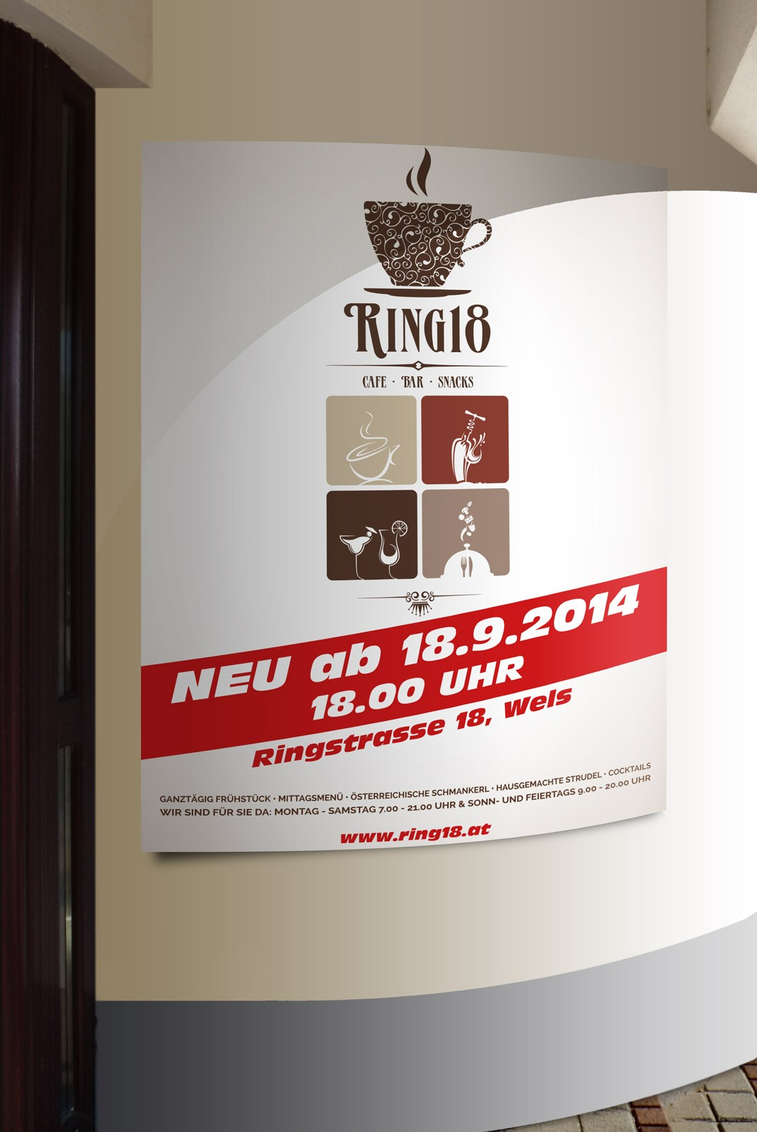 Kunde Cafe Ring18 Wels Plakat