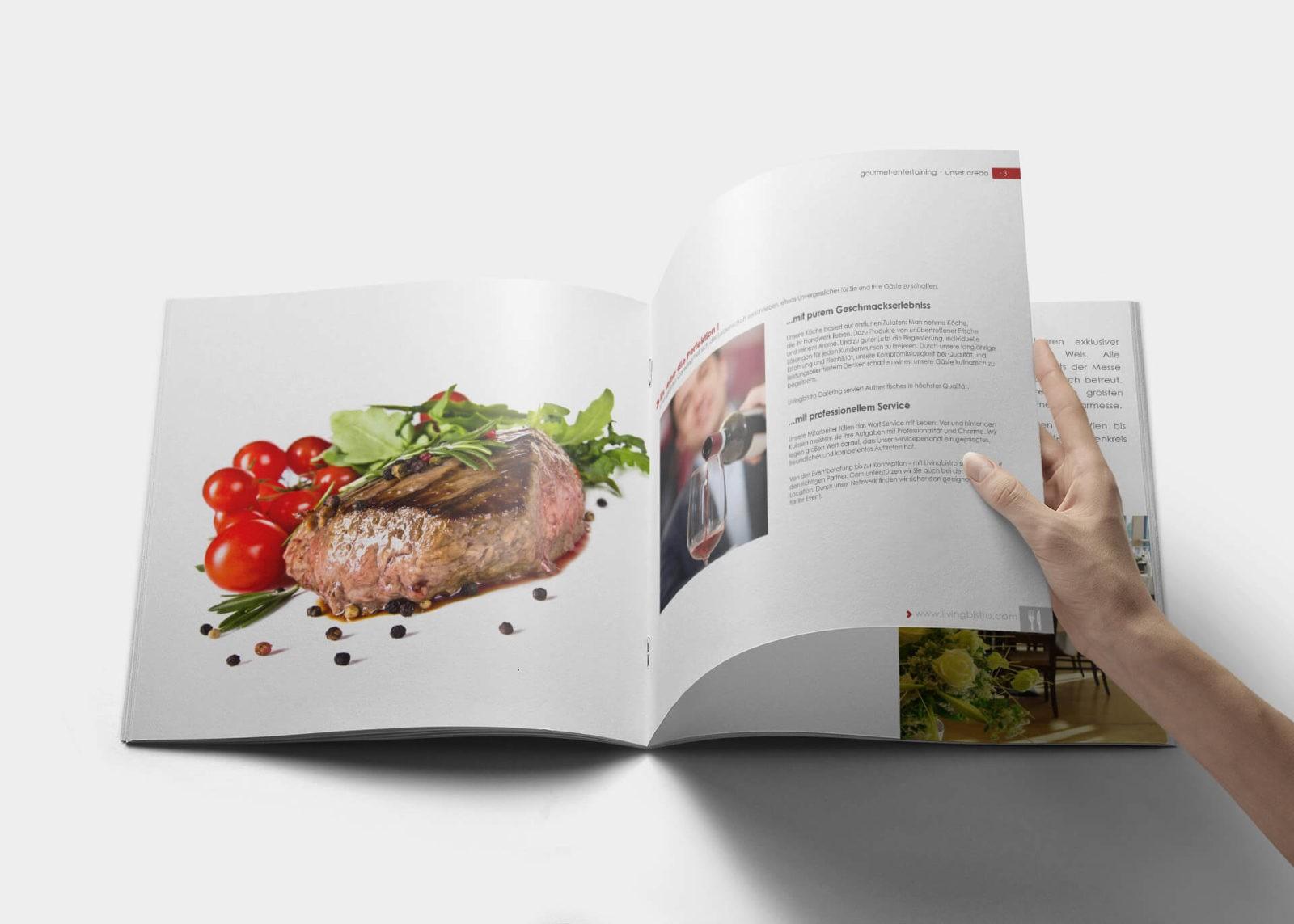 Printmedien Kunde livingbistro Catering