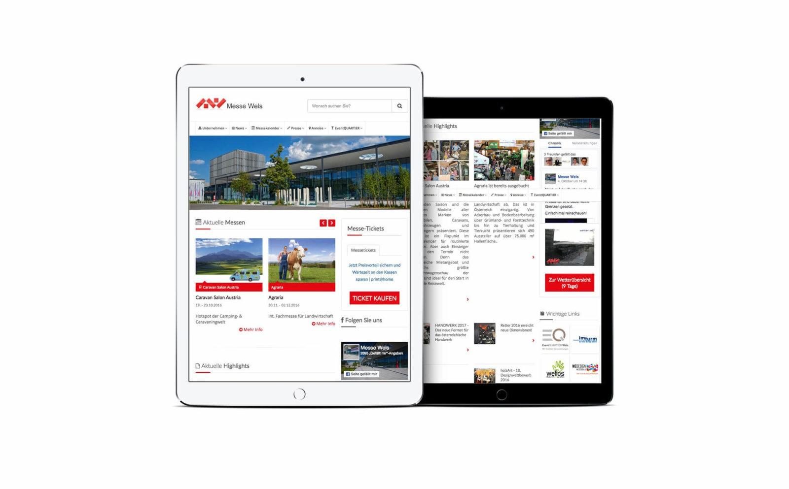 Mobile Webseiten der Messe Wels