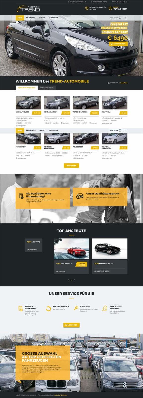 Trendautomobile.at Wels Webseite gesamt