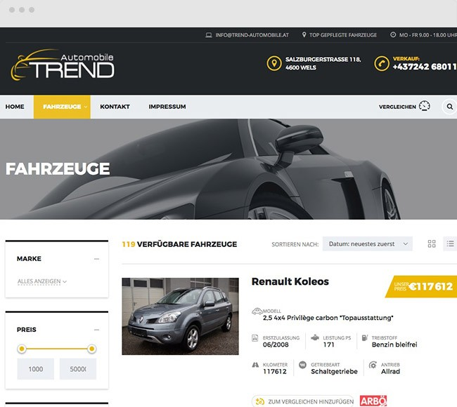 Trendautomobile.at Wels Web