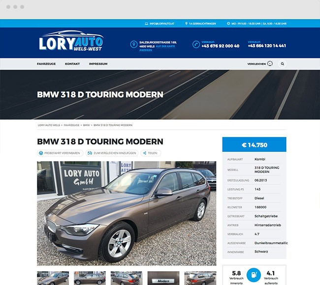 Kunde Lory Auto Wels Website