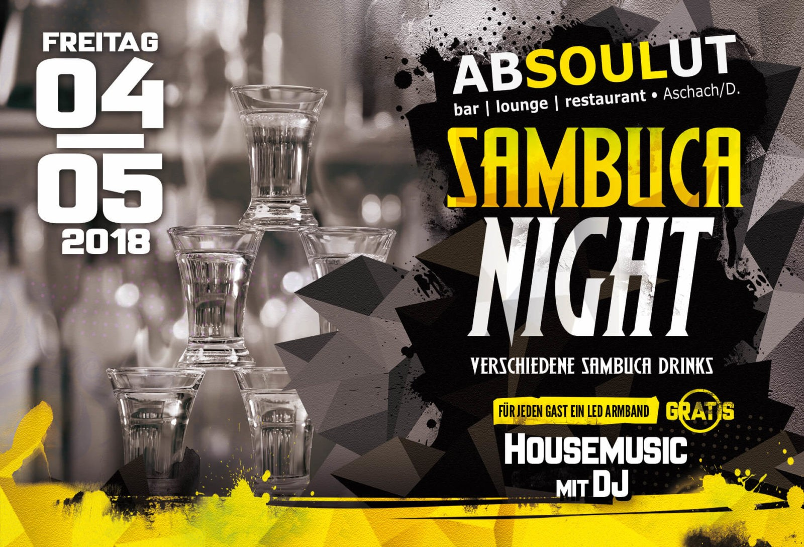 Absolut Bar Restaurant Events - Sambuca Nacht