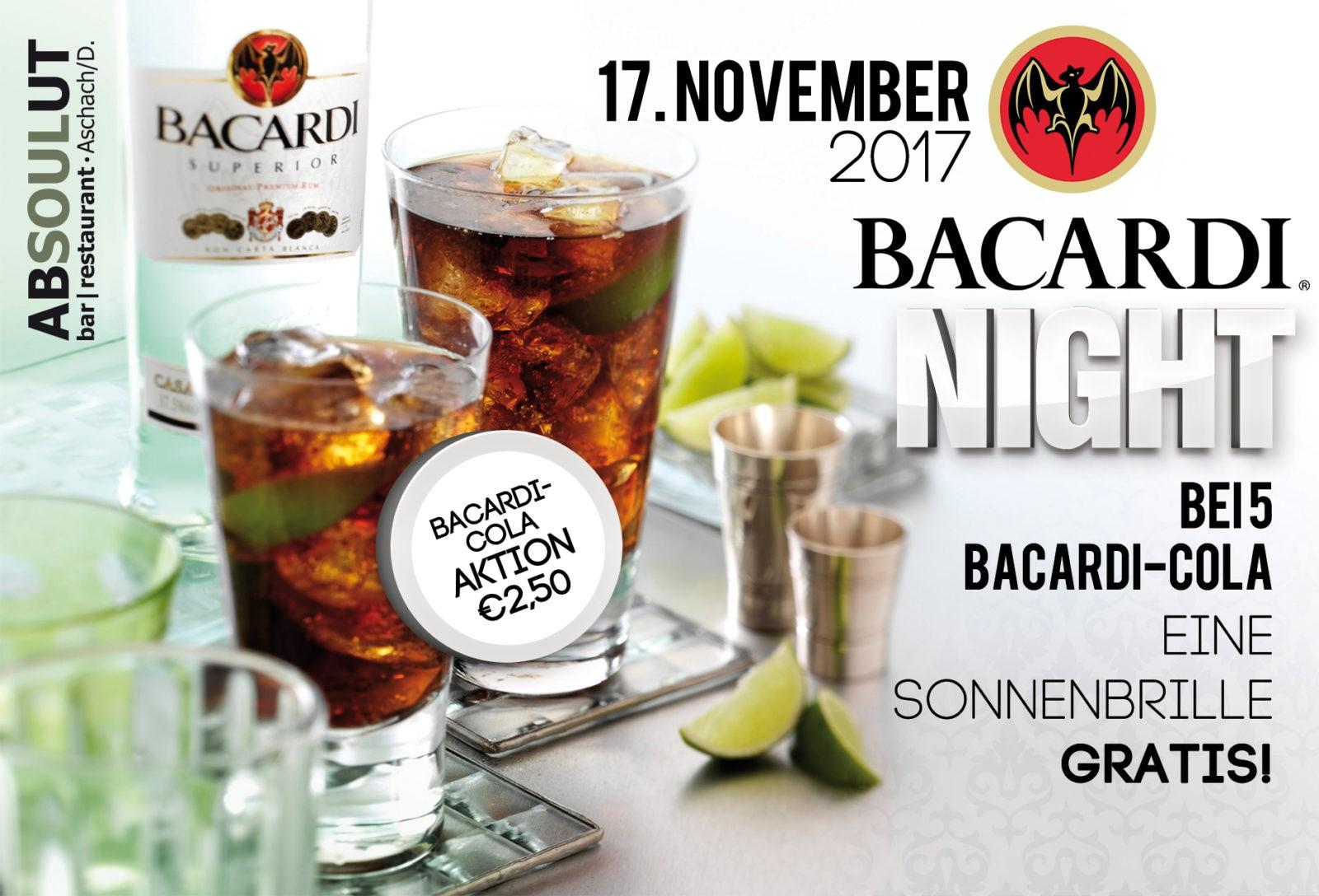 Absolut Bar Restaurant Events - Bacardi Night