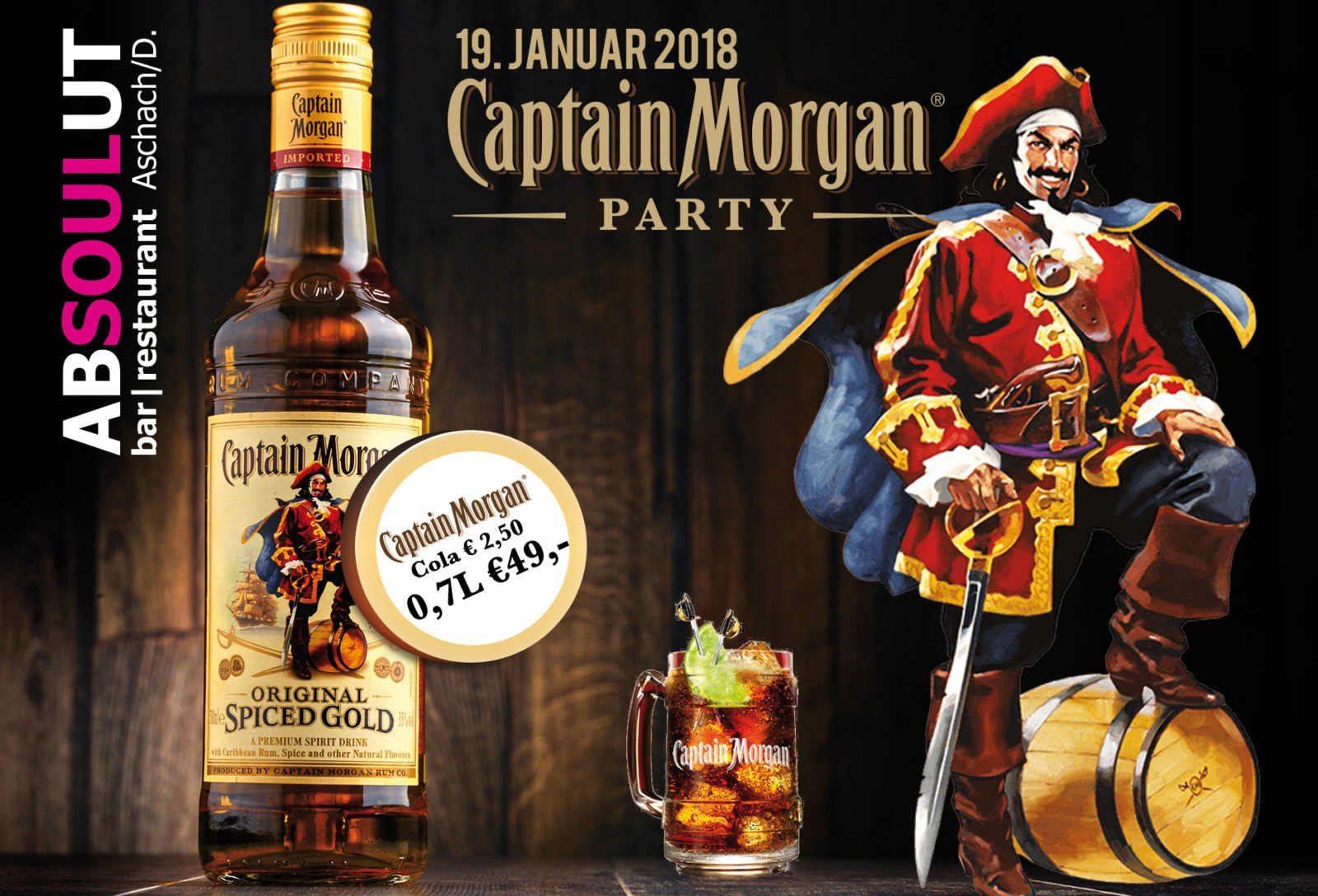 Absolut Bar Restaurant Events - Captain Morgan Party