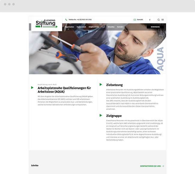 Webdesign für Kunde Lenzing-Stiftung