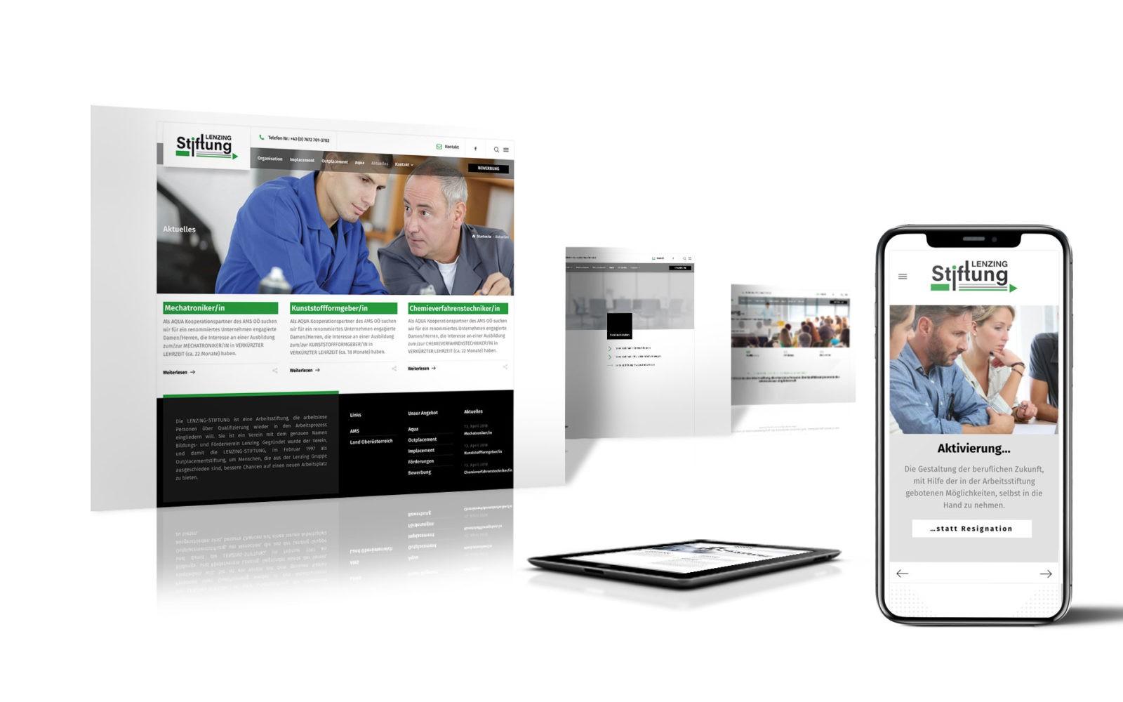Webdesign für Kunde Lenzing-Stiftung - all devices