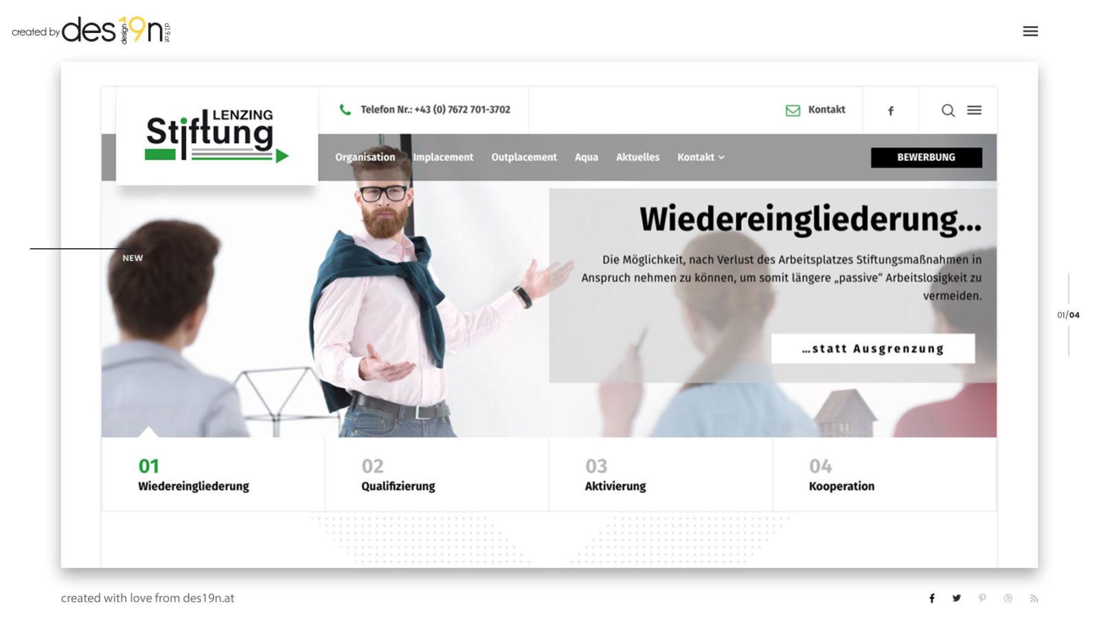Webdesign für Kunde Lenzing-Stiftung - responsive Webdesign
