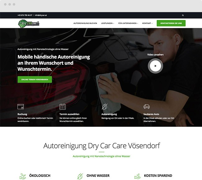 Webdesign für Dry Car Care Vösendorf