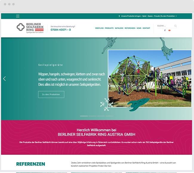 Webdesign für Berliner Seilfabrik Ring Austria GmbH