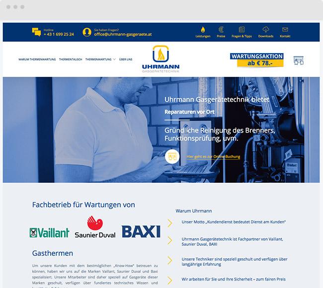 Webdesign für Uhrmann Heiztechnik