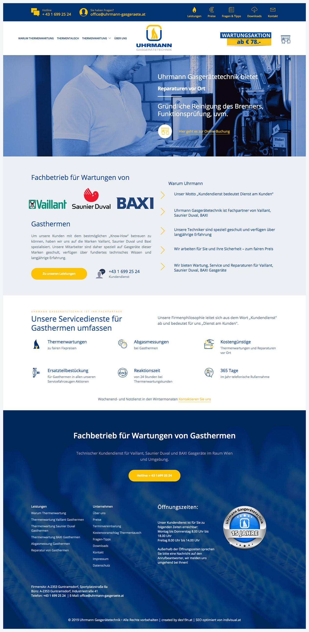 Responsive Webdesign für Uhrmann Heiztechnik - Kostengünstig